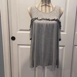 Lauren Conrad Gray Cold Shoulder Top Size M